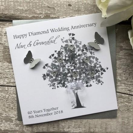 HANDMADE DIAMOND WEDDING ANNIVERSARY CARD 'DIAMOND 60TH'