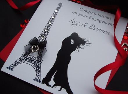 Handmade Engagement Card Eiffel Tower