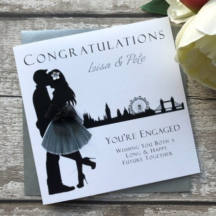 Handmade Personalised Engagement Card 'Skyline'