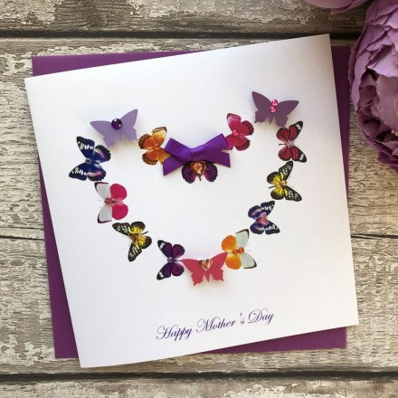 """Handmade Mother's Day Card """"Butterfly Heart"""""""