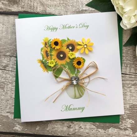 Handmade Mothers Day Card Sunflowers