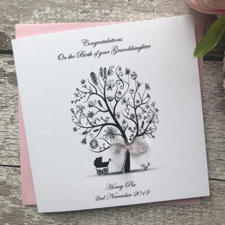 Personalised Handmade New Baby Card 'Pram'