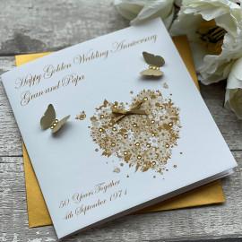 """HANDMADE GOLDEN WEDDING ANNIVERSARY CARD """"GOLDEN HEART"""""""