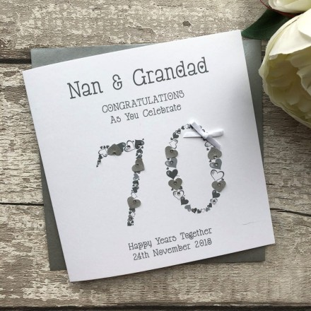 70th Wedding Anniversary.Handmade Wedding Anniversary Card Platinum 70th