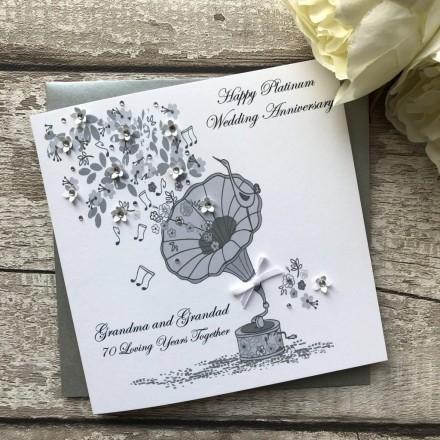 Handmade Platinum Wedding Anniversary Card 'Gramophone '