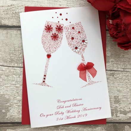 Personalised Handmade Ruby Wedding Anniversary Card 'Toast'