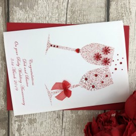 Personalised Handmade Ruby Wedding Anniversary Card 'Toast'