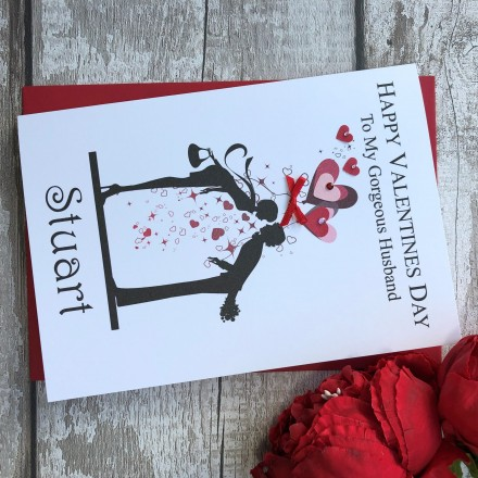 "Handmade Valentines Card ""Kissing Couple"""