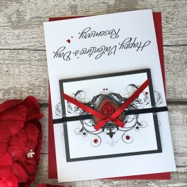 "Handmade Valentines Card ""Rose Bud Heart"""