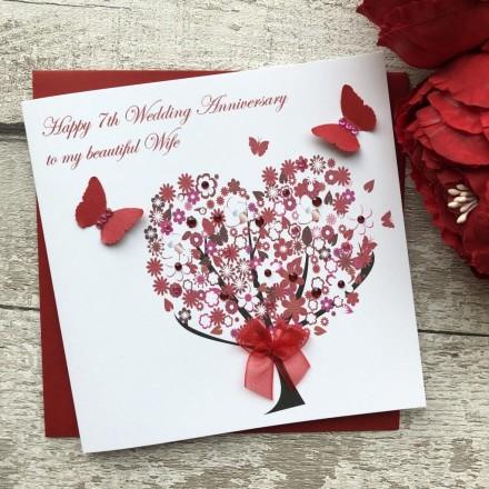 Handmade Wedding Anniversary Card 'Floral Tree'