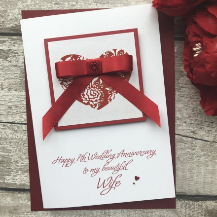 Luxury Handmade Wedding Anniversary Card 'Ruby Bow'