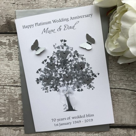 Handmade Platinum Wedding Anniversary Card