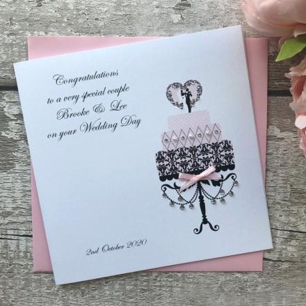 Handmade Personalised Wedding Card 'Cake'
