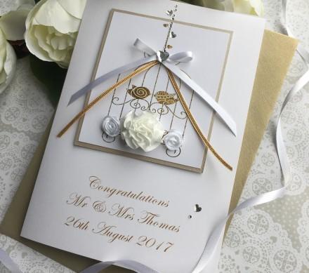 "Handmade Wedding Card ""Lace Bird Cage"""