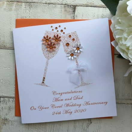 Handmade Coral Wedding Anniversary Card 'Toast'