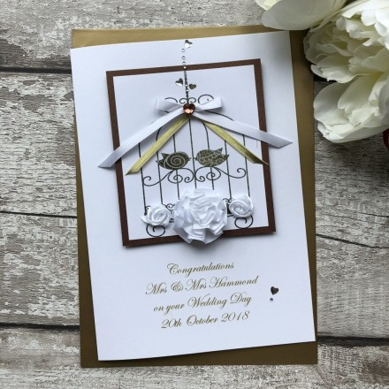 "Handmade Wedding Card ""Lace Bird Cage"""