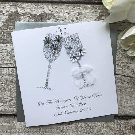 "Personalised Handmade Renewal of Wedding Vows Card ""Champagne Toast"""