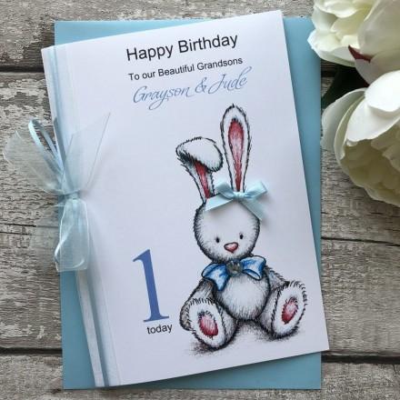 Handmade Personalised Birthday Card 'Rabbit'