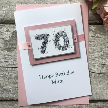 Luxury Handmade Birthday Card 'Floral Numbers'