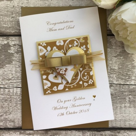 Handmade Luxury Golden Wedding Anniversary Card