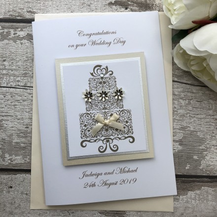 Luxury Handmade Wedding Card 'Cake'