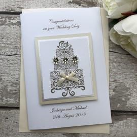 Luxury Handmade Wedding Card 'Cake'