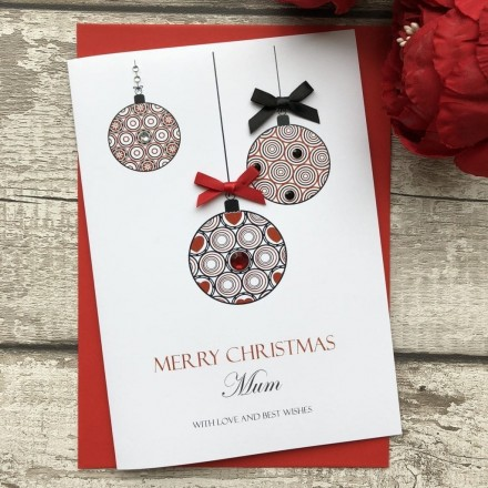 Handmade Christmas Card 'Baubles'
