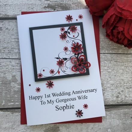 Luxury Handmade Wedding Anniversary Card 'Floral'