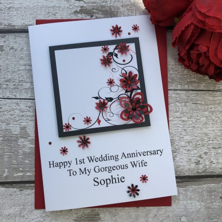 Luxury Handmade Wedding Anniversary Card 'Floral'