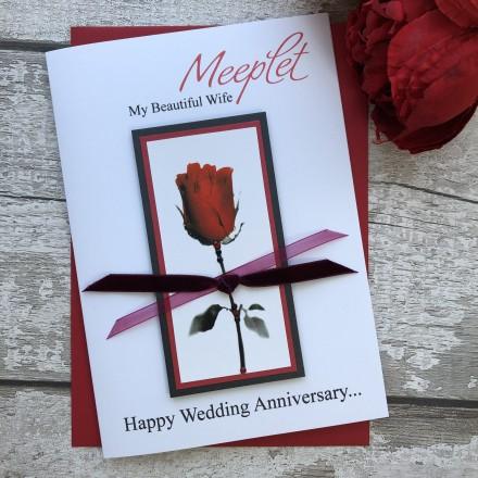"Handmade Wedding Anniversary Cards ""Romantic Rose"""