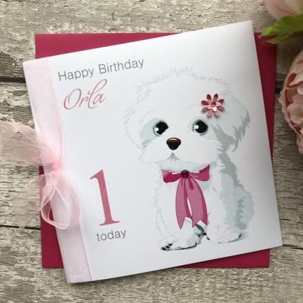 Handmade Birthday Card 'White Dog'