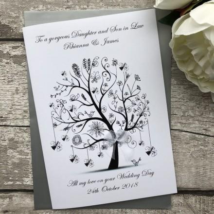 Personalised Handmade Wedding Card 'Bell Tree'