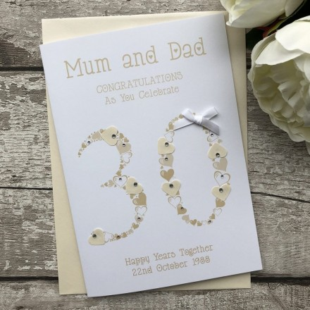 Handmade Pearl 30th Wedding Anniversary Card