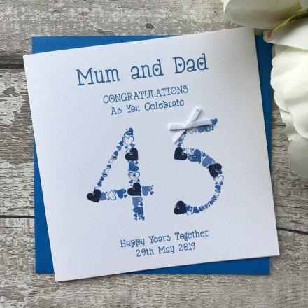 Handmade Sapphire Wedding Anniversary Card