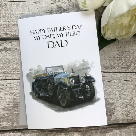 Handmade Father's Day Card 'Vintage Rolls Royce'