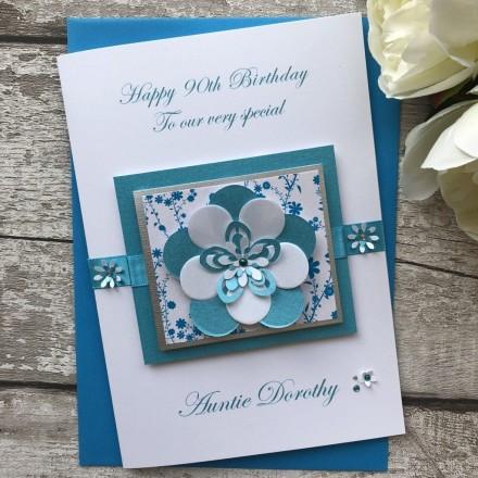Luxury Handmade Birthday Card 'Exquisite Flower'