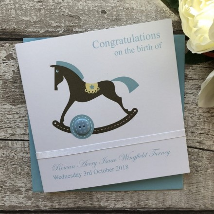 Handmade New Baby Card 'Rocking Horse'