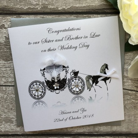 Personalised Handmade Wedding Card 'Horse and Carriage'