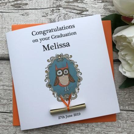 "Handmade Graduation Card ""Ornate Owl"""