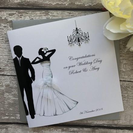 "Handmade Personalised Wedding Card ""Glamour"""