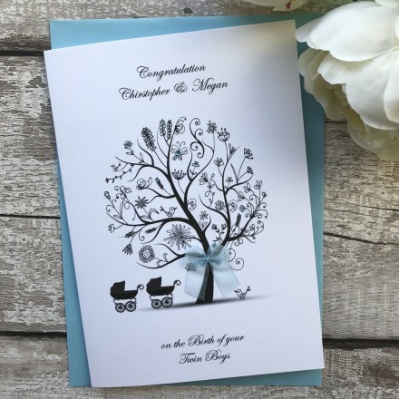 "Handmade New Baby Card ""Twins, Triplets or Quads"""