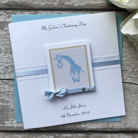 Handmade Christening Card 'Giraffe'
