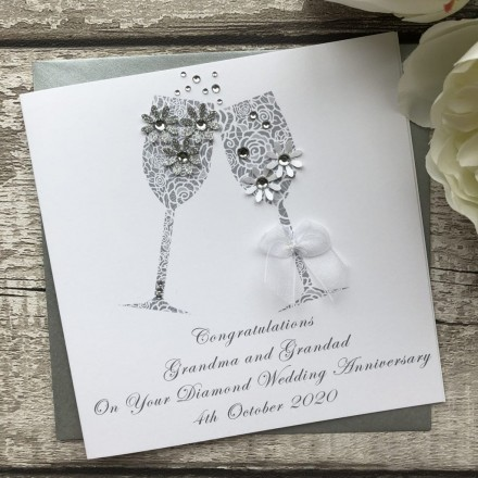 Handmade Wedding Anniversary Diamond Card 'Toast'