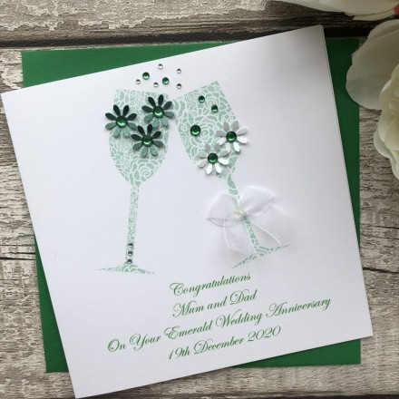 Handmade Emerald Wedding Anniversary Card 'Toast'