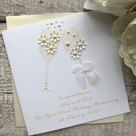 Handmade Wedding Anniversary Card 'Pearl'