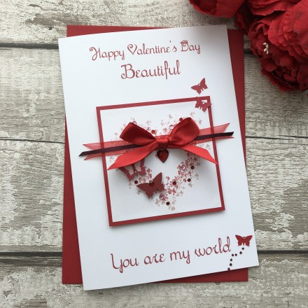 "Handmade Valentines Card ""Butterfly Heart"""