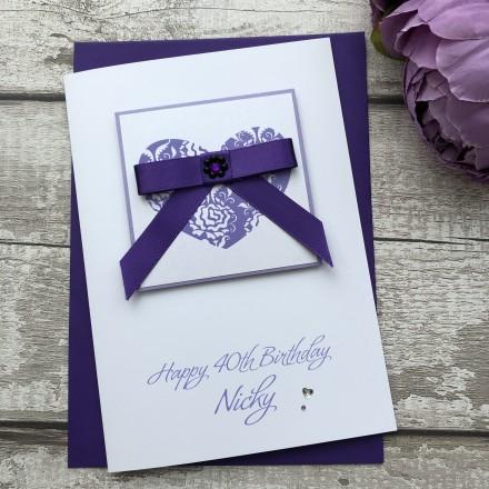 Luxury Handmade Birthday Card 'Bow'