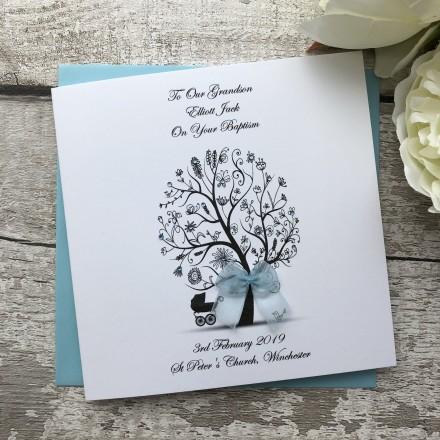 "Handmade Christening Card ""Tree with Pram"""