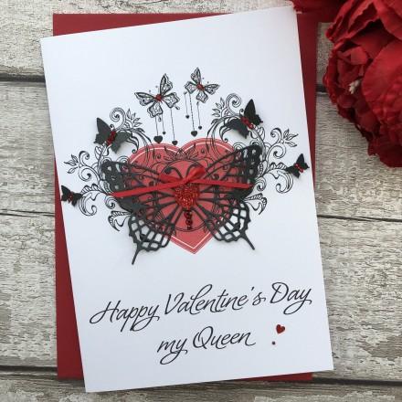 "Handmade Valentines Card ""Butterfly Heart"""