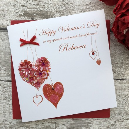 "Handmade Valentines Card ""Hanging Hearts"""